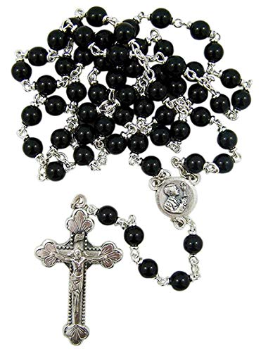 Boy's First Holy Communion Black Glass Beaded Rosary, 20 1/2 Inch