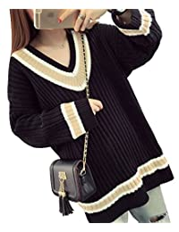 Womens Long Sleeve V-Neck Pullover Jumper Cardigan Loose Sweaters Coat Striped
