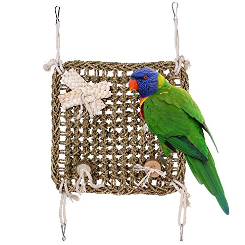 Bird Toys Climbing Net Nature Handmade Heavy Duty Seagrass Wall Chewing Toy Perch Swing for Parrot