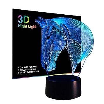Pferd 3D Lampe Optische LED Täuschung Nachtlicht für Kinder, 7 ...
