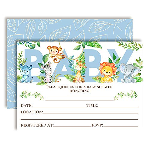 Watercolor Jungle Animals Baby Boy Sprinkle Baby Shower Invitations, 20 5