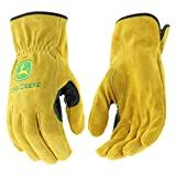 John Deere JD00004 M Split Cowhide Leather Gloves, Medium, Tan (1 pair)