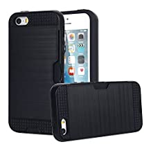 iPhone 5S/SE Case, MCUK Dual Layer [Brushed Metal Texture] [Heavy Duty] [Drop Protection] [Card Slot] Shock Absorbing Tough Cover Case for iPhone 5S/SE (Black)