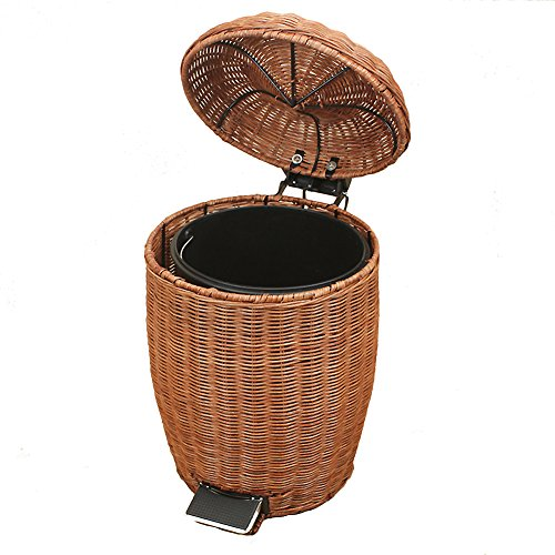 Step trash can Waste bins,Rattan & wicker Trash can with lid Removable Retro garbage can Trash can in home & kitchen Applicable to office Bedroom Bathroom-round-B