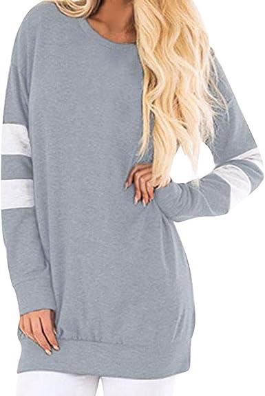 Reooly Cuello Redondo de Mujer Manga Larga Costura Sudadera pulóver Camisa Larga Casual Camisa de Mujer suéter Camisa Larga: Amazon.es: Ropa y accesorios