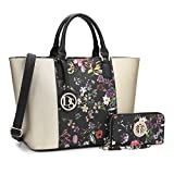 MMK collection Women Fashion Matching Satchel handbags with walle(6417)t~Designer Purse with Wristlet Wallet (6417W-Gold/Black)