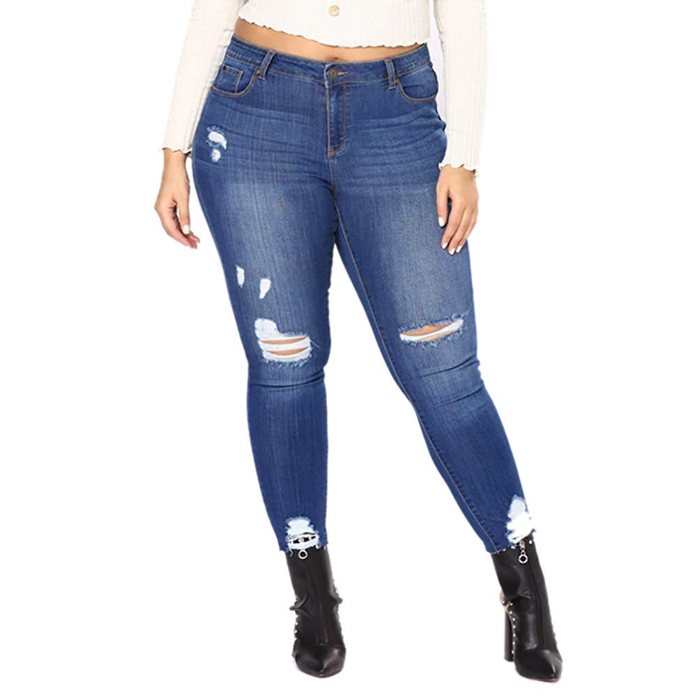 Winsummer Plus Size Distressed Women Jeans,Women's Hight Waisted Stretch Ripped Skinny Destroyed Denim Pants Dark Blue