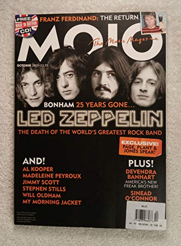 Led Zeppelin - John Bonham 25 Years Gone - The Death of The World's Greatest Rock Band - Mojo Magazine - Issue #143 - October 2005 - Franz Ferdinand, Devendra Banhart, Sinead O'Connor articles