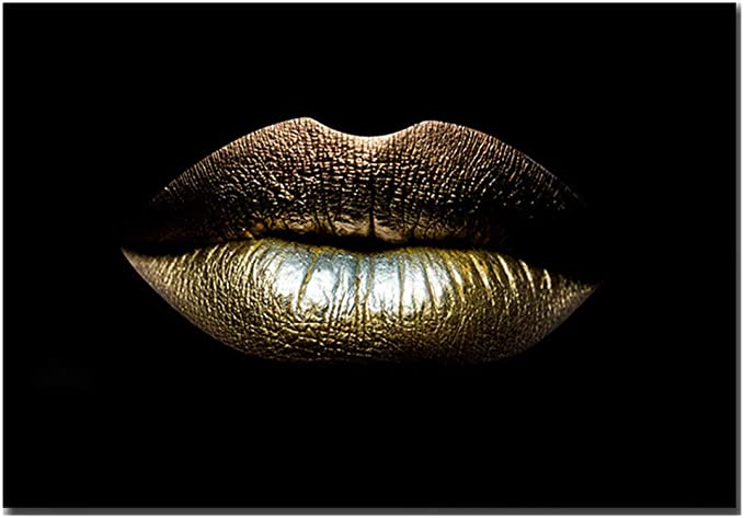 Amazon Com Sexy Lips Canvas Art Print African Model Bare Lips Women Canvas Wall Art Female Sexy Lips Poster Prints On Canvas Giclee Wall Painting For Home Or Office Decor No Frame Gold