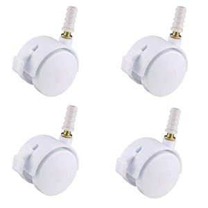 SpzcdZa 4pcs 1.5 Inch Swivel Caster Wheels Grip Neck Stem Caster White Furniture Wheel with Brake and Mounting Socket
