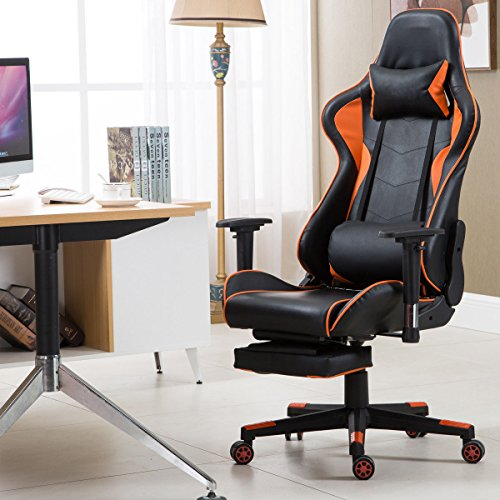 giantex gaming chair racing chair high back reclining lumbar support headrest and footrest. Black Bedroom Furniture Sets. Home Design Ideas