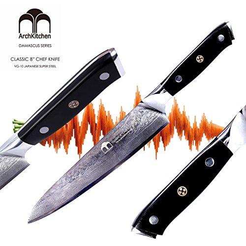 ArchKitchen 8 inch Professional Chef's Knife - Premium Japanese Damascus VG-10 Super Steel 67 Layer - Ergonomic G10 handle - Razor Sharp, Superb Edge Retention, Stain & Corrosion Resistant by ArchKitchen