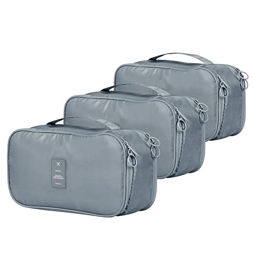 XIMIVOGUE 3-Pack Packing Cubes Travel Accessories Organizers Versatile Travel Packing Bags (Grey)