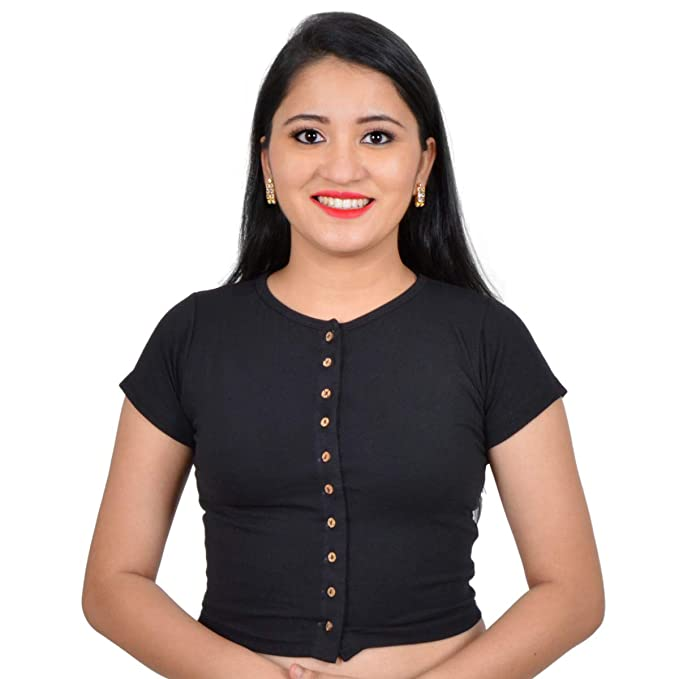803fc032 Biyu Womens Girls Cotton Lycra Black High Neck Stretchable Front Button  Short Sleeves Readymade Saree Blouse