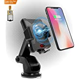 Wireless Charger Car Mount,Coobar Qi-Motor Automatic Infrared Sensor Wireless Charger Smart One-Touch car Mount, Phone Holder Compatible iPhone X,iPhone 8/8plus,Samsung S8/S8+ and More-Black