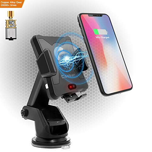 Wireless Charger Car Mount,Coobar Qi-Motor Automatic Infrared Sensor Wireless Charger Smart One-Touch car Mount, Phone Holder Compatible iPhone X,iPhone 8/8plus,Samsung S8/S8+ and More-Black ¡