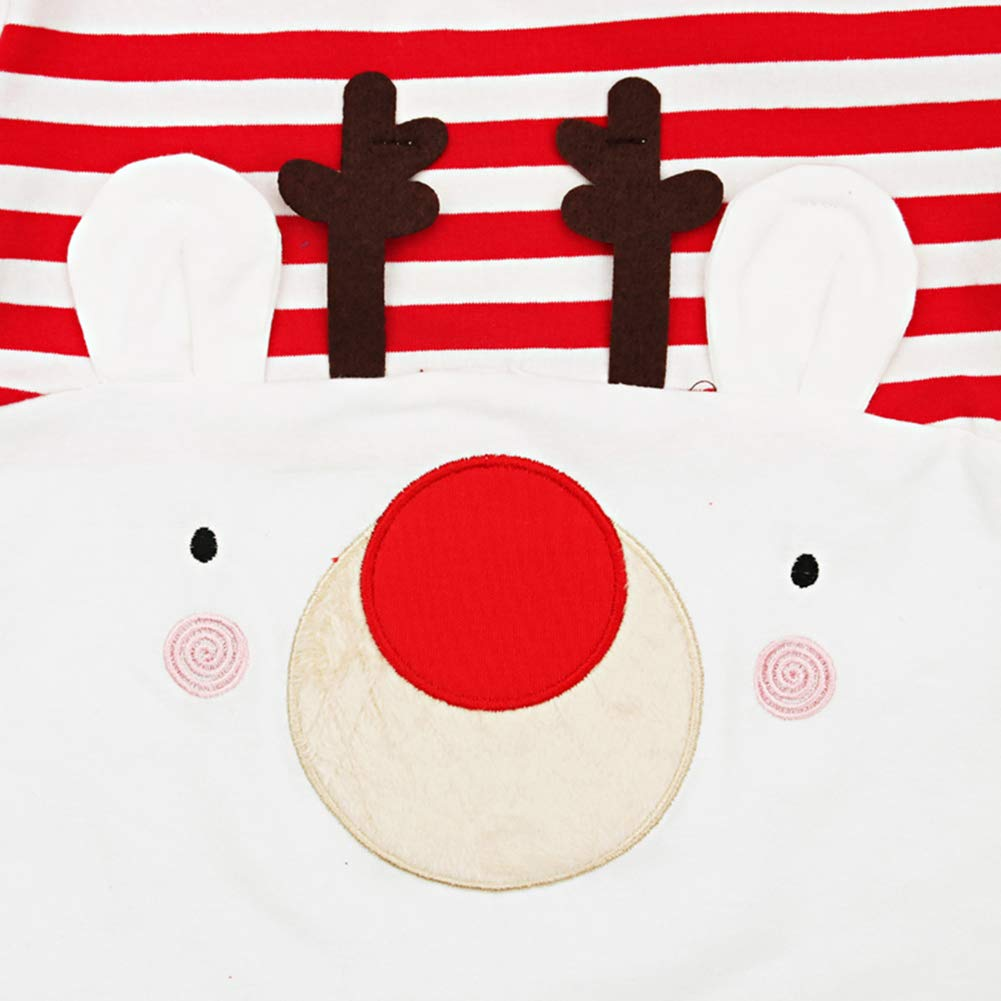 YDuoDuo 0-24M Elk Christmas Romper Outfit for Baby Toddler Boys Girls Long Sleeve Stripe Onesies Jumpsuit Clothes