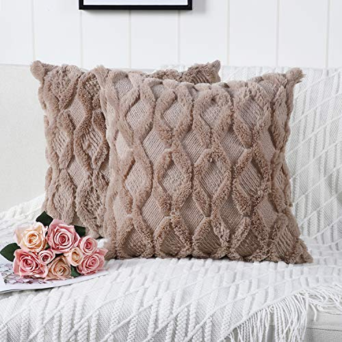 Madizz Pack of 2 Soft Plush Short Wool Velvet Decorative Throw Pillow Covers Luxury Style Cushion Case Pillow Shell for Sofa Bedroom Square Taupe 16x16 inch