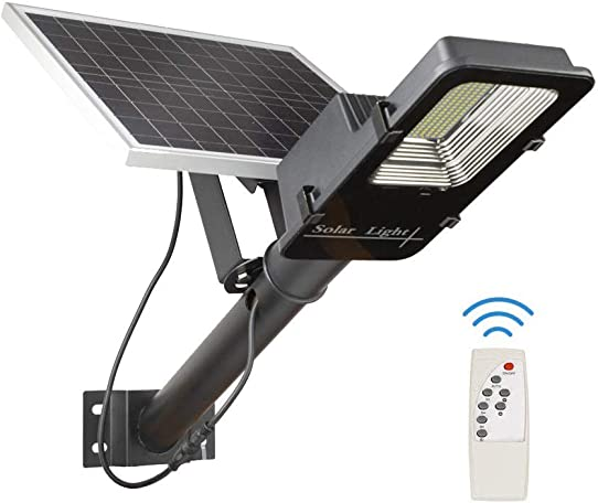150W Solar Street Flood Light, 9000 lumens IP66 Waterproof Aluminum Alloy Body with Remote Control and Auto On Off Security Light with Pole