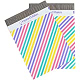 Poly Mailers 10x13 - Colorful Pastel Stripes - Premium Unpadded Shipping Envelopes - Pack of 100