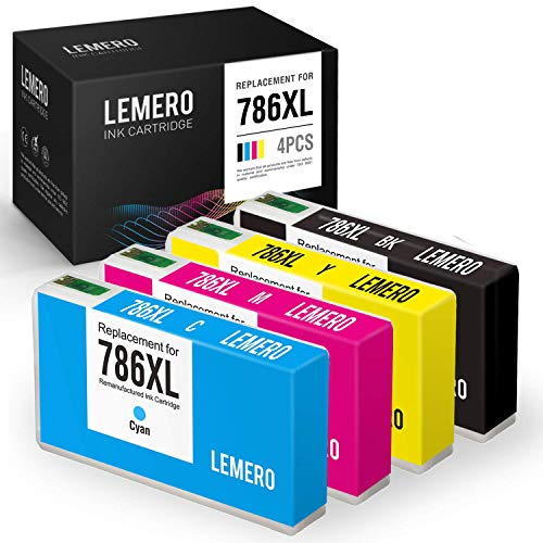 LEMERO Remanufactured Ink Cartridges Replacement for Epson 786XL 786 for Workforce Pro WF-4630 WF-5690 WF-5190 WF-5620 WF-4640 WF-5110 (Black, Cyan, Magenta, Yellow, 4-Pack)