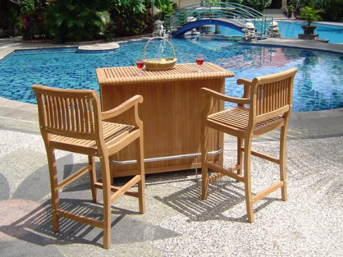 Grade-A Teak Wood Outdoor Patio 3 Piece Bar Set - Bar Cabinet With 2 Giva Bar Arm Chairs (30
