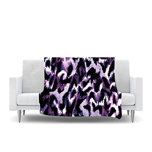 80 by 60 Kess InHouse EBI Emporium Wild at Heart-Purple Lavender Fleece Throw Blanket