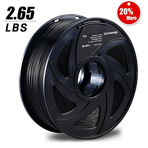 3D Mars 3D Printing Filament, 1.75 mm PLA 3D Printer Filament, 2.65 lbs(1.2KG), Dimensional Accuracy +/- 0.03mm, PLA Filament for Most 3D Printer, Black by 3D MARS