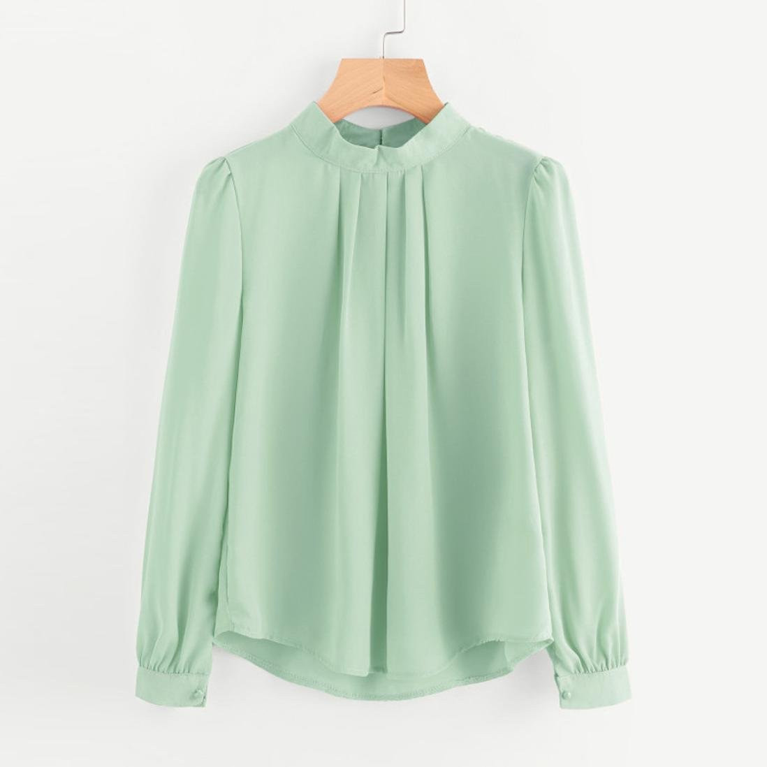 2b04cc9af9e Kangma Women Summer Casual Chiffon Long Sleeve Loose Shirt Tops Blouse Mint  Green at Amazon Women s Clothing store