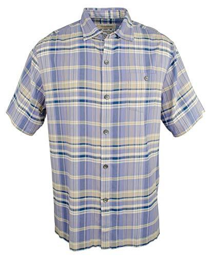 Tommy Bahama Manoa Madras Silk Camp Shirt (Color: Ritzy Purple, Size L)