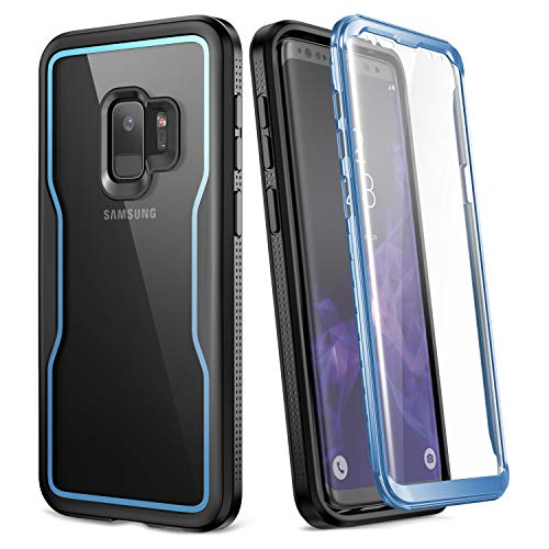Blue Clear Crystal Case - YOUMAKER Crystal Clear Case for Galaxy S9 5.8 inch, Full Body with Built-in Screen Protector Heavy Duty Protection Slim Fit Shockproof Rugged Cover for Samsung Galaxy S9 5.8 inch (2018) - Blue