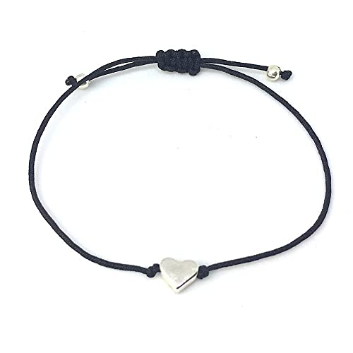 Filigranes Herz Armband Silber - Schwarzes Textil Band mit Silberfarbenem  Kleinen Herz - Handmade  Amazon.de  Schmuck 9c2441a567