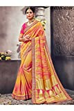 Da Facioun Indian Sarees For Women Designer Wedding Partywear Orange Color In Yellow Cotton Silk