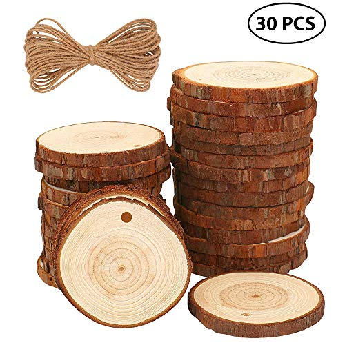 LtrottedJ Wood Slices 30 Pcs Craft Wood Kit Unfinished Predrilled with Hole Wooden -
