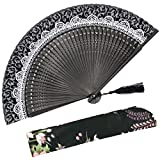 OMyTea Lace Pattern 8.27''(21cm) Women Hand Held Folding Fans with Bamboo Frame - With a Fabric Sleeve for Protection for Gifts - Chinese/Japanese Vintage Retro Style (Black)