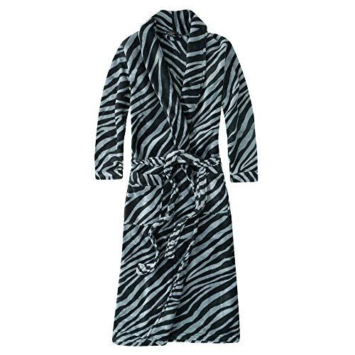 Noble Mount Plush Robes for Women, Fleece Robes - Zebra - Charcoal/Black - M (Zebra Bathrobes For Women)