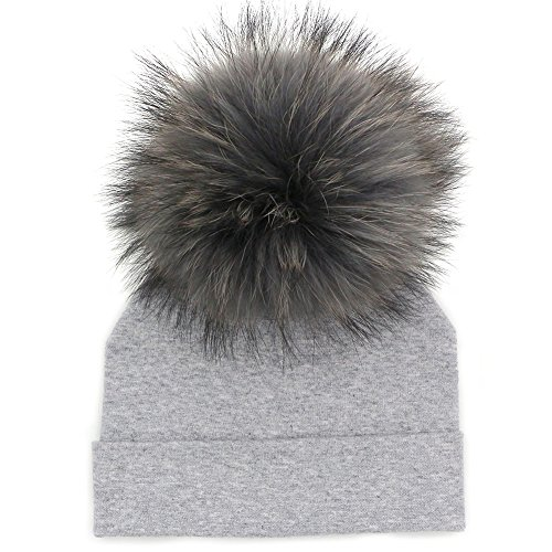 GZHILOVINGL Baby Toddler Bonnet Hat with Big Real Fur Pom Pom Kid Girl Winter Beanie