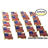 20 AMERICAN FLAG LAPEL PINS United States USA Tie Tack Badge Pin SHIPPED from US