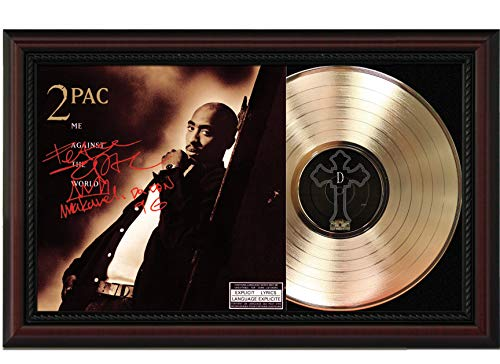 2Pac - Me Against The World Cherrywood Framed Gold Reproduction Signature Display M4