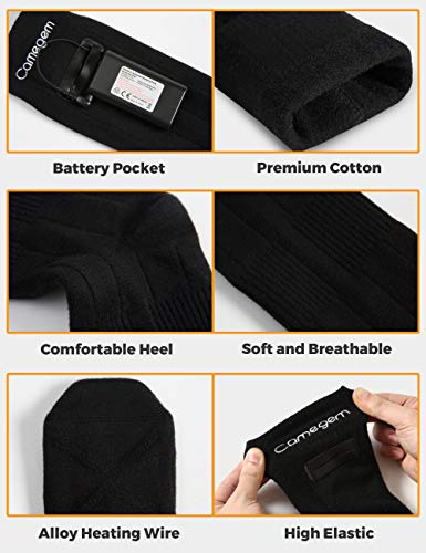 Camegem Heated Socks for Men/Women - Rechargeable Electric Thermal Socks with 3 Heat Settings, Winter Foot Warmers with Two 4000mAh Large Capacity Batteries