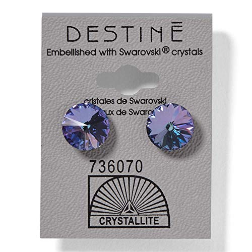 (Crystallite Destine Violet Rivoli Earrings 11mm Violet)