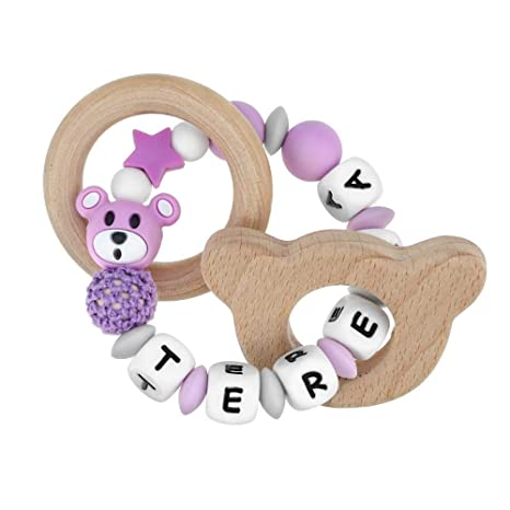 RUBY - Sonajero mordedor de madera y silicona orgánica perosnalizado con nombre. Oso I Love Mom, para bebes (Beige)