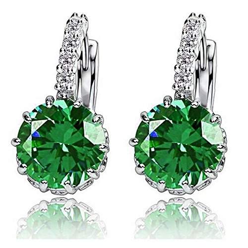 1-pair-fashion-women-elegant-crystal-rhinestone-silver-plated-ear-stud-earrings-olive-green