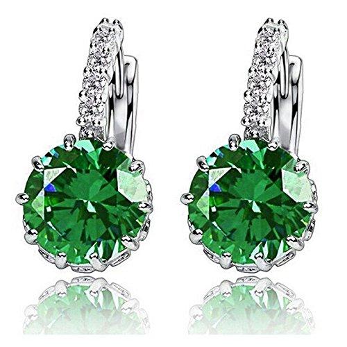 1-pair-fashion-women-elegant-crystal-rhinestone-silver-plated-ear-stud-earrings-olive-green