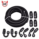 Evilenergy 16Ft 10AN Nylon and Stainless Steel Braidied Oil Gas Feul Line + 10pcs AN10 Hose Fitting Kit Black