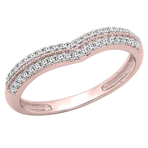 DazzlingRock Collection 0.25 Carat (ctw) 10K Rose Gold Round White Diamond Double Row Curved Wedding Band 1/4 CT (Size (0.25 Ct Round Rose)