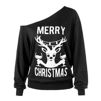 Hoodied Crop Tops Christmas Women Tunic T Shirt Long Sleeve Antler Snow Print Pullover Sweatshirt Shirt