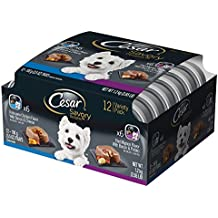 CESAR SAVORY DELIGHTS Variety Pack Rotisserie Chicken Flavor With Bacon and Cheese & Filet Mignon Flavor With Bacon and Potato Dog Food Trays3.5 ounce (Pack of 24)