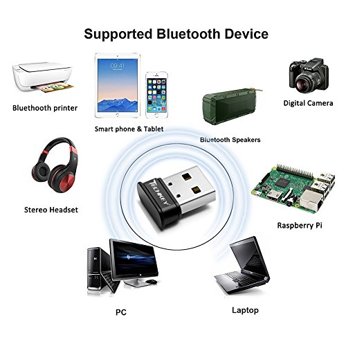 Bluetooth Adapter for PC USB Bluetooth Dongle 4.0 EDR Receiver TECHKEY Wireless Transfer for Stereo Headphones Laptop Windows 10, 8.1, 8, 7, Raspberry Pi, Linux Compatible by TECHKEY (Image #3)