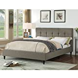 AC Pacific Modern Upholstered Square Stitched Platform Bed with Wooden Slats, Grey (Queen)